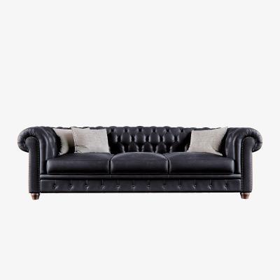 美式皮沙发
