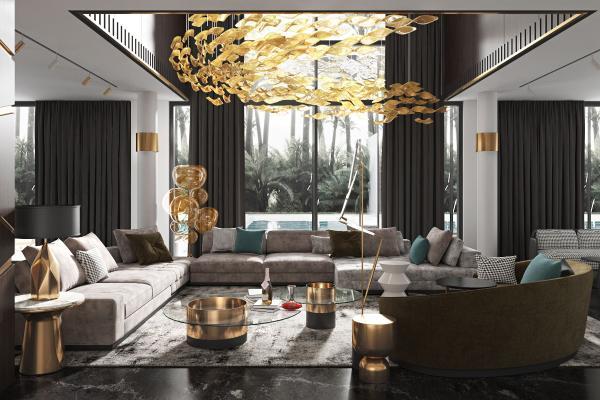 现代轻奢客厅 沙发茶几组合 水晶灯