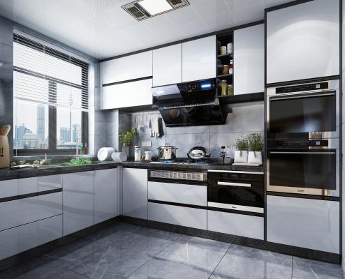 现代风格厨房橱柜 厨房电器 厨房用品 蒸箱烤箱 油烟机灶具 集成吊顶