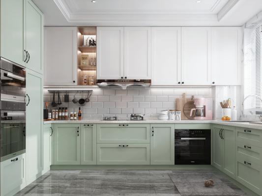 北欧风格厨房 蒸烤箱 洗碗机