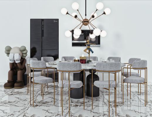 现代圆形餐桌椅 吊灯