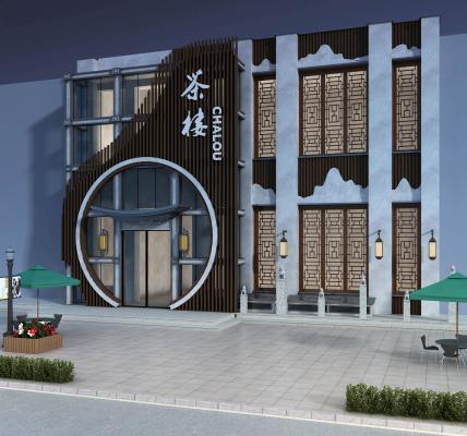 中式茶楼门头外观 创意条形门头 圆形门面