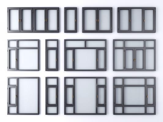 现代窗户 铝合金窗户 窗子