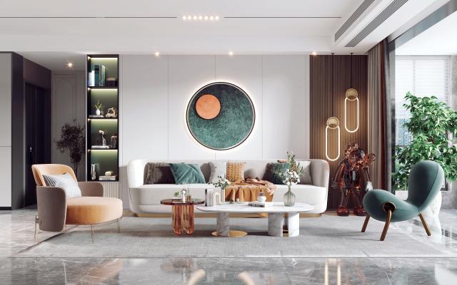 现代客餐厅 沙发茶几组合 电视背景墙
