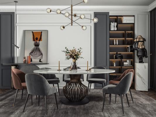 现代餐厅 餐桌椅 酒柜