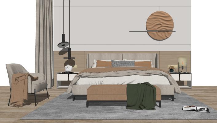 现代卧室 床尾凳