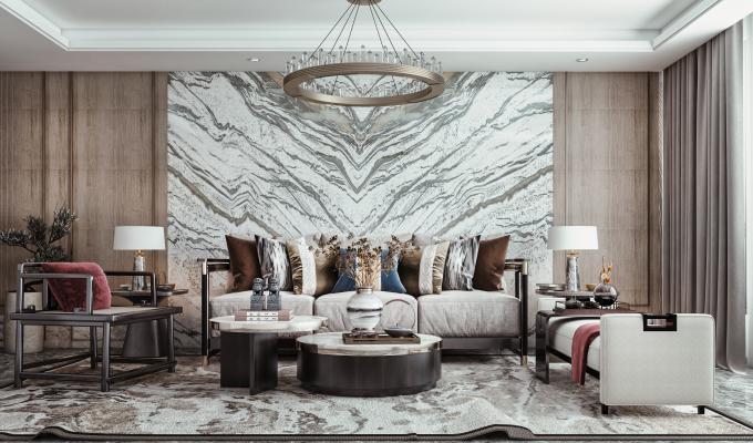 新中式客厅 多人沙发 吊灯