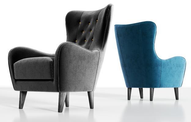 现代轻奢实木绒布单人沙发组合