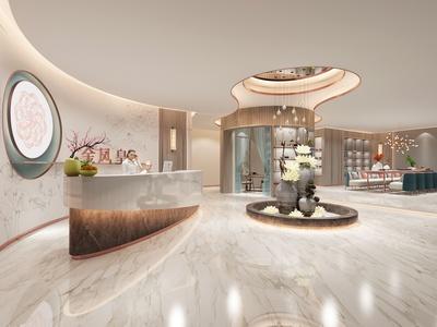 新中式美容院大厅 前台 装饰柜