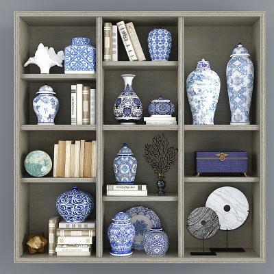 新中式青花瓷瓷器,飾品,陶罐罐子將軍罐,玉璧擺件組合