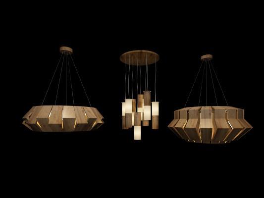 北欧创意木条吊灯