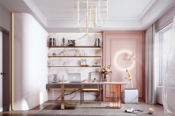 现代家居书房 书桌 书柜