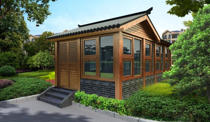 中式木制结构茶室