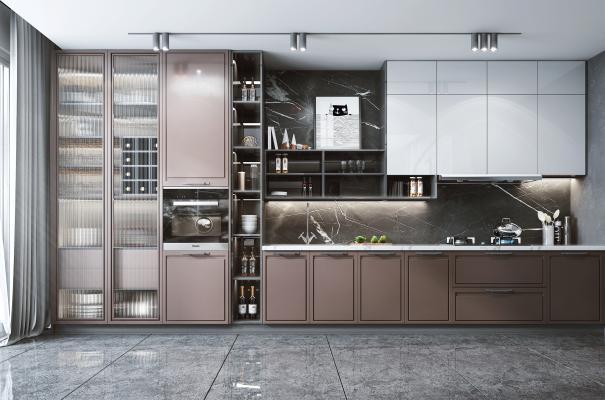 現代風格廚房 櫥柜 油煙機 灶具 蒸箱