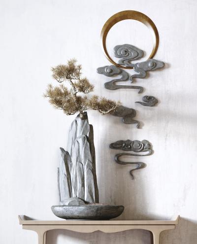新中式装饰摆件 松柏 石头
