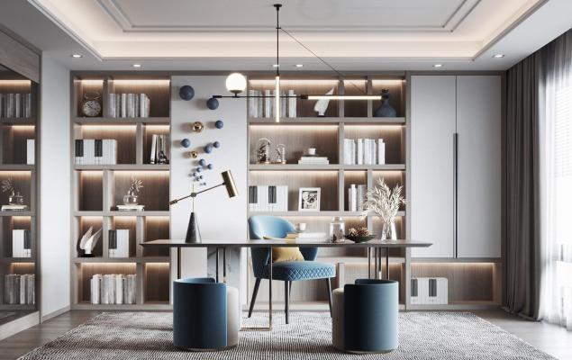 现代书房 书桌 书柜