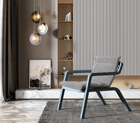 现代休闲椅 吊灯组合