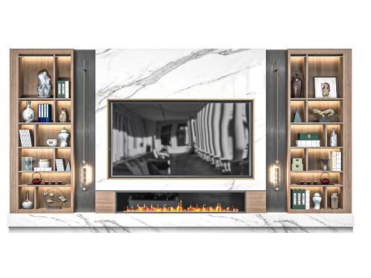 现代电视背景柜 电视背景墙 电视机