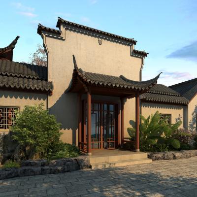 中式古建门头 门面 马头墙 四合院门头