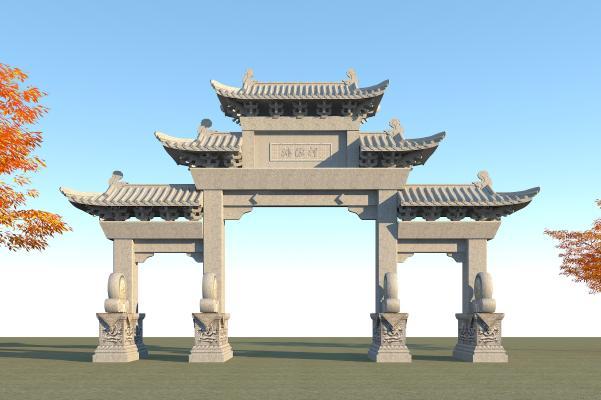 中式牌坊 古建筑大门