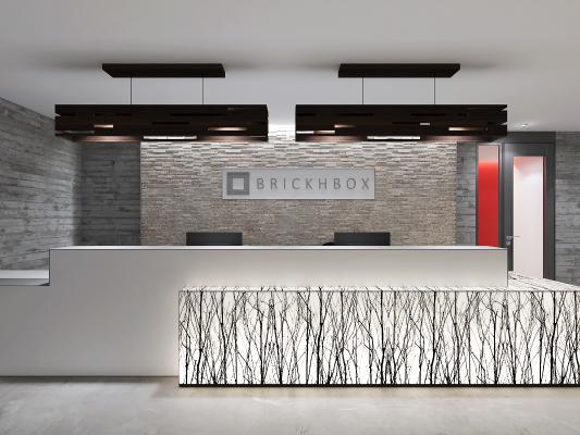 现代办公室前台 接待台 吊灯