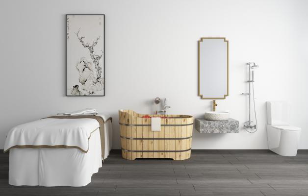 现代木桶 浴缸 按摩床 洗手台 马桶 花洒