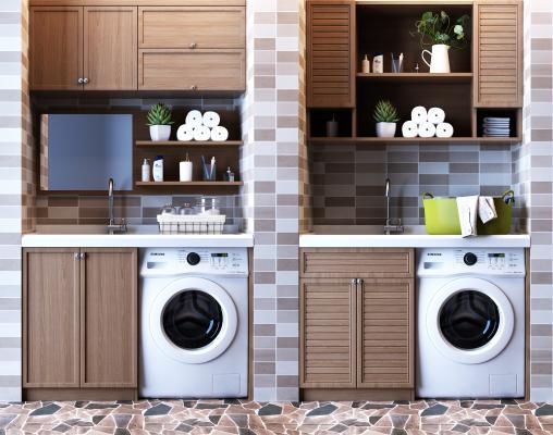 现代阳台洗衣机伴侣洗手台储物橱柜壁柜吊柜
