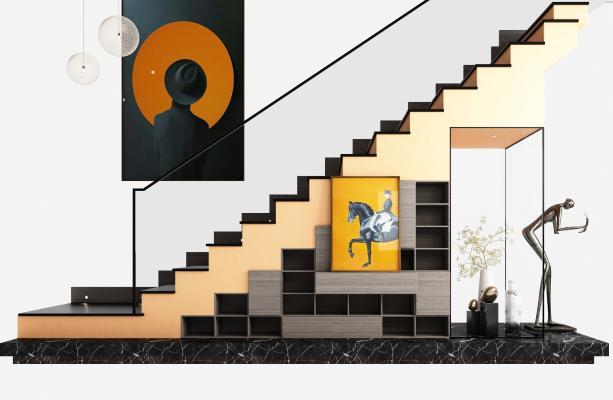 现代楼梯 储物柜 饰品摆件
