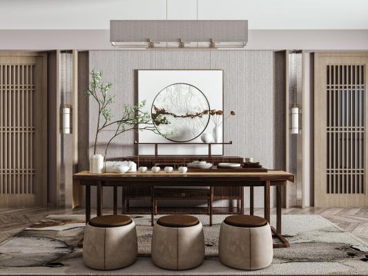 新中式茶桌椅组合 实木长条桌 圆凳