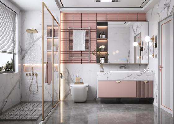 北欧卫生间 卫浴柜 淋浴柜 洗手台盆 智能镜 卫浴组合