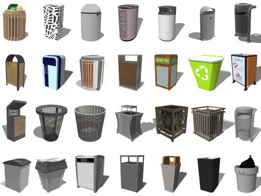 现代室内垃圾桶