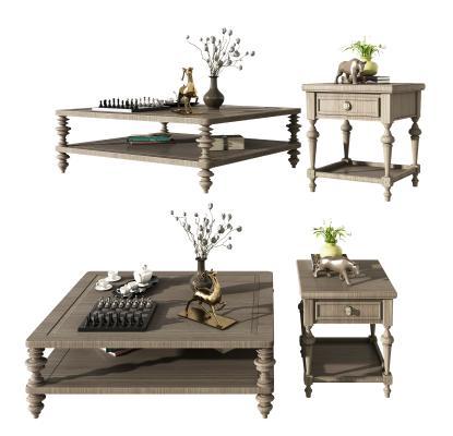 美式木质茶几角几边几组合,置物架,置物柜,装饰品
