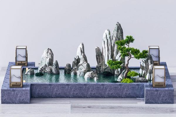 中式水景假山
