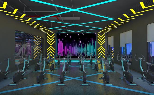 现代健身房 动感单车房