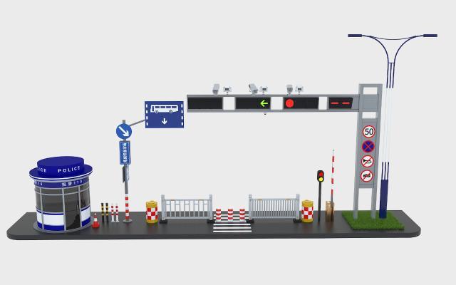 交通灯指示牌 交通岗 路障 栏杆