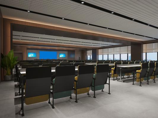 現代大會議室 會議桌椅 綠植