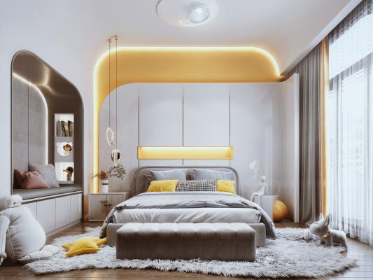 现代风格儿童房 床 床头背景