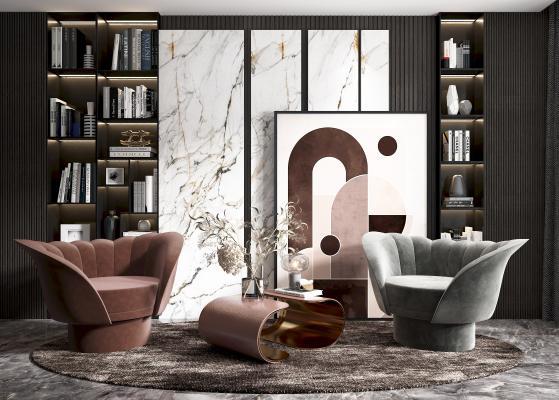 现代椅子茶几组合 椅子 挂画