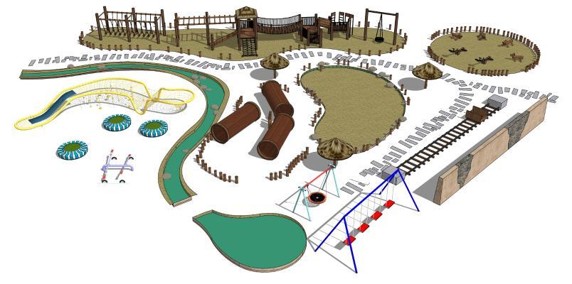 现代儿童娱乐器材组合 游乐场 娱乐设备 儿童活动场地