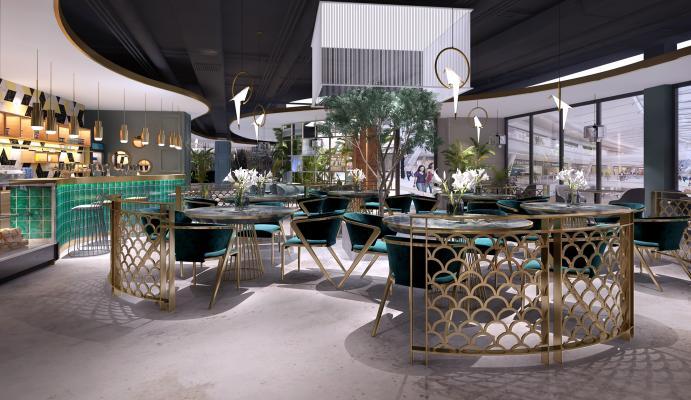 后现代酒店餐厅 餐桌餐椅 沙发茶几