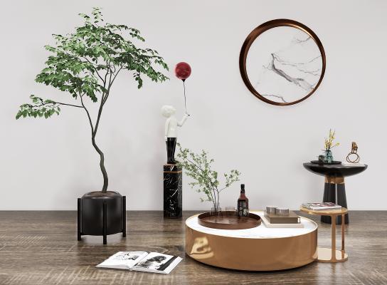 现代茶几 盆栽 绿植 人物雕塑组合