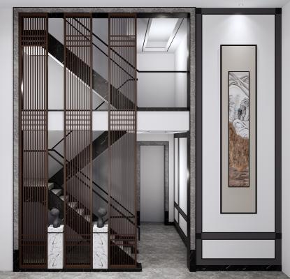 新中式楼梯隔断组合