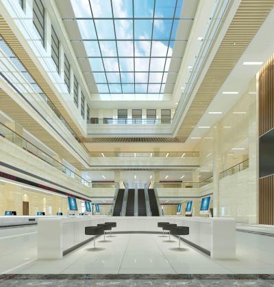 现代行政服务中心 中庭 服务大厅