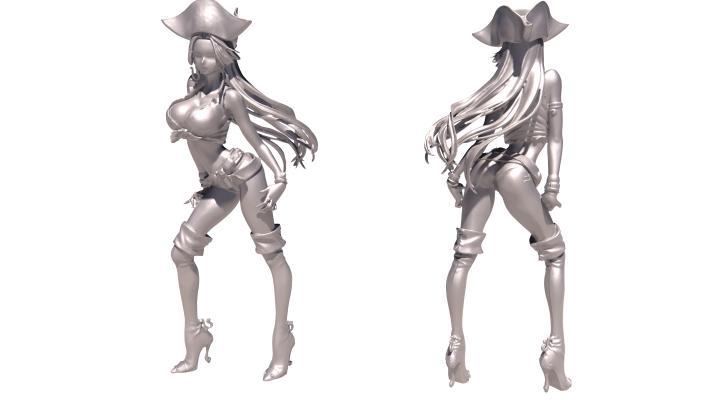 现代女牛仔雕塑