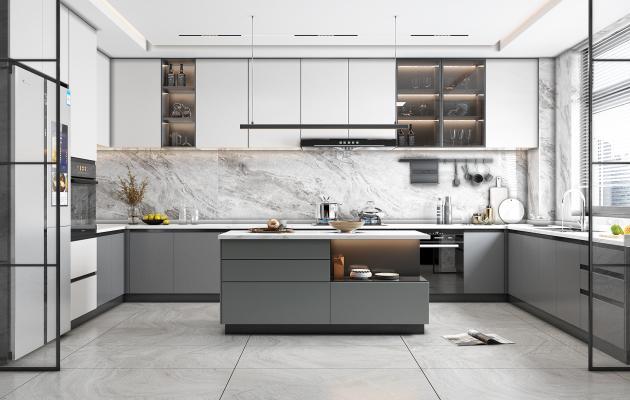 现代轻奢厨房 橱柜 中岛台