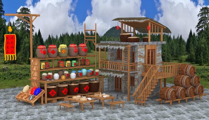 传统中式木桶酒坊