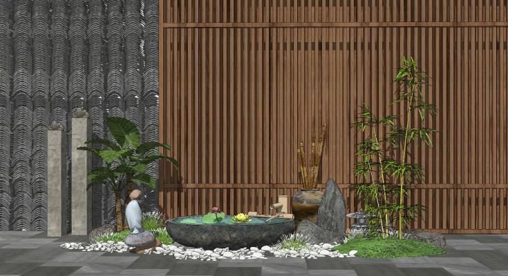 新中式景观小品 庭院景观 禅意景观 跌水景观 水景