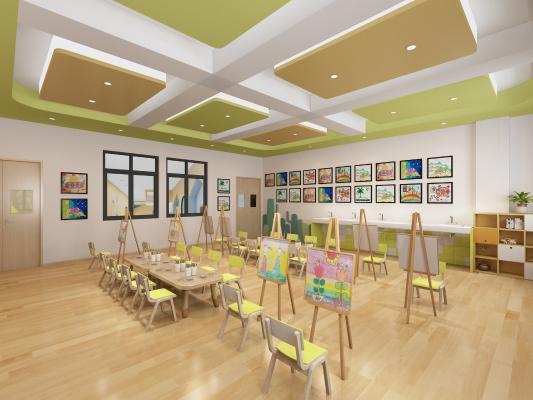 现代幼儿园美工室 黑板 桌椅