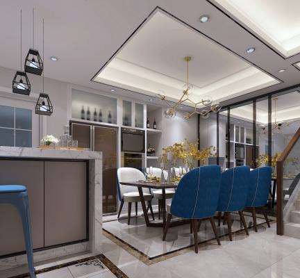 现代餐厅 餐桌 吊灯 吧台 吧椅 冰箱