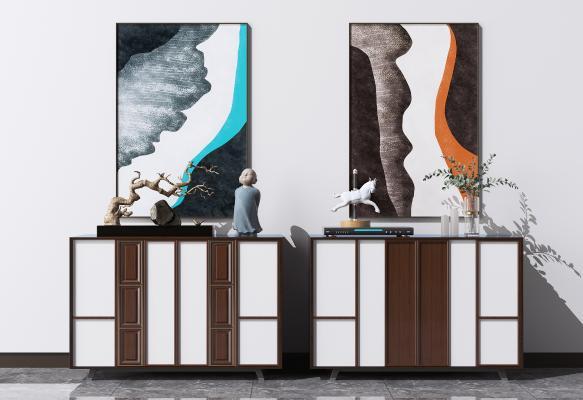 新中式餐边柜组合 矮柜 装饰柜